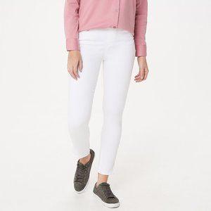Tall Knit Denim Ankle Jeans w/ Zipper Detail